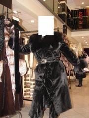 Продам шубу - черная бритая норка с черной лисой